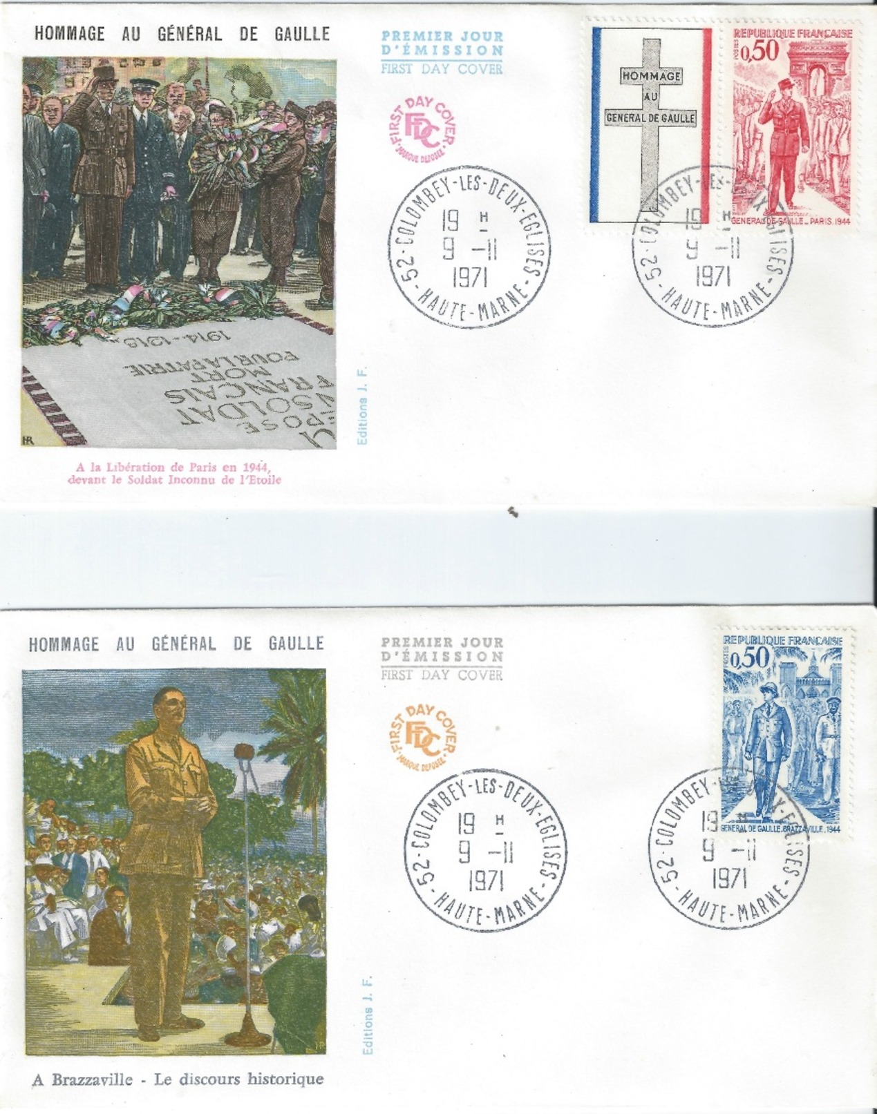 FRANCE 2 X Charles De Gaulle Colour Illustrated Homage Scarce 1971 FDC - FDC