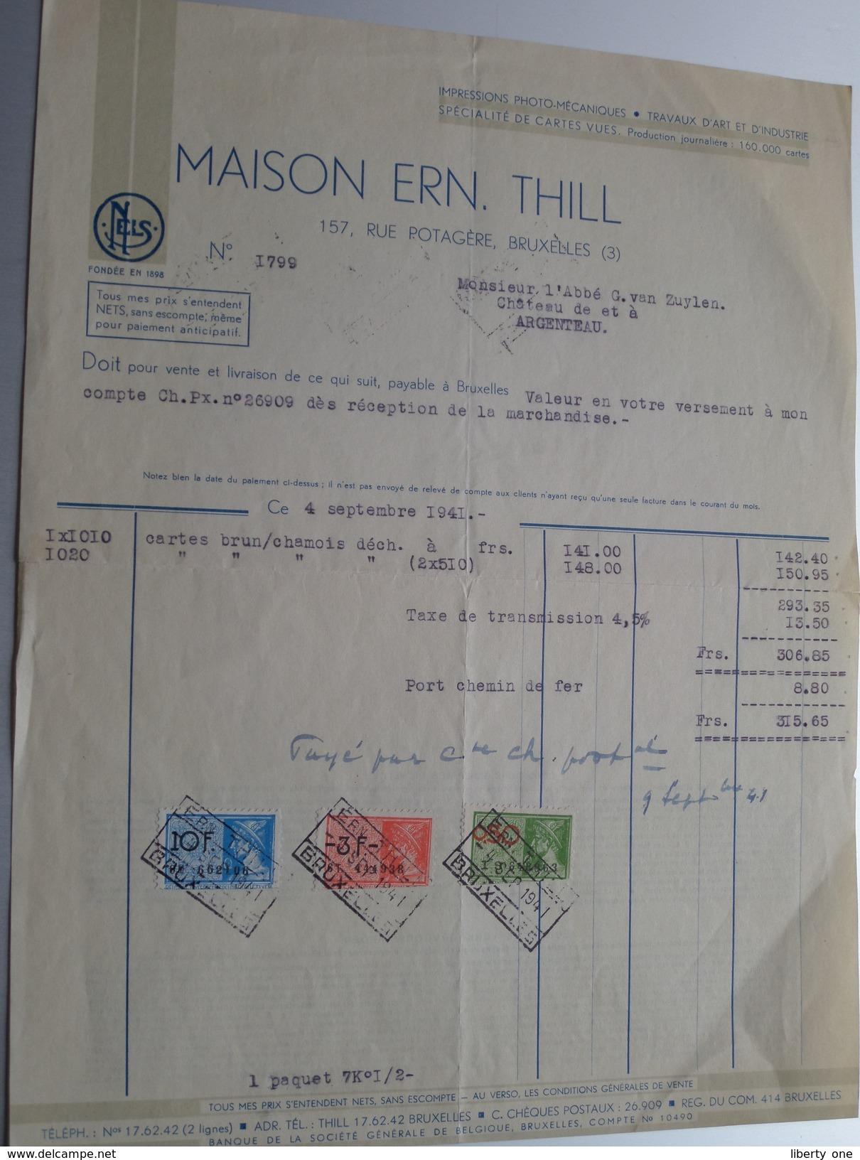 Maison ERN. THILL Spécialité De Cartes Vues / Postkaarten ( Nels ) > Abbé G. Van Zuylen Château ARGENTEAU - 1941 ! - Printing & Stationeries