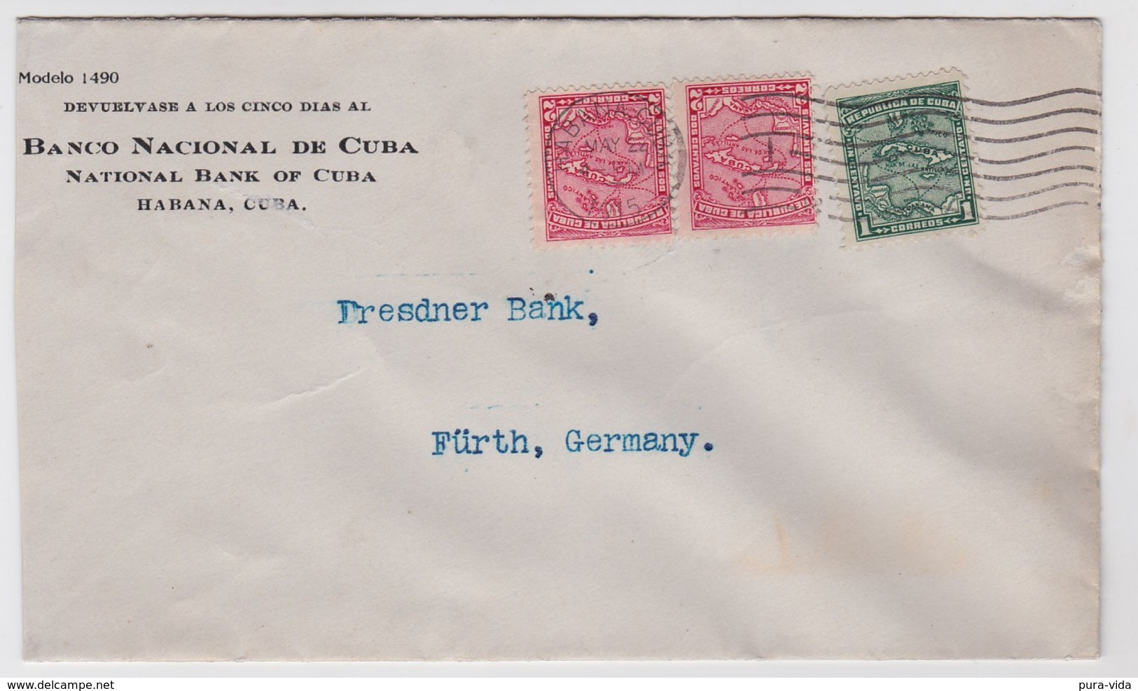 Cuba Cover To Germany 1915 Map Stamps - Brieven En Documenten