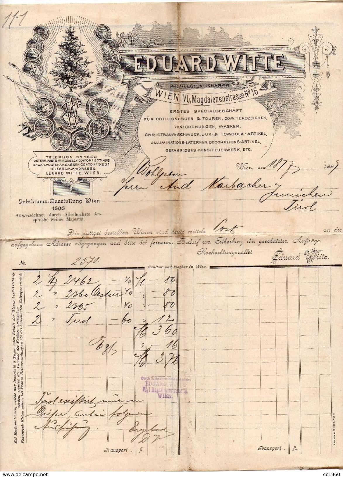 """Austria - Vienna - Fattura Della Ditta """" Eduard Witte """"  Datata  18 Marzo 1899 ? - (FDC4994) - Austria"""