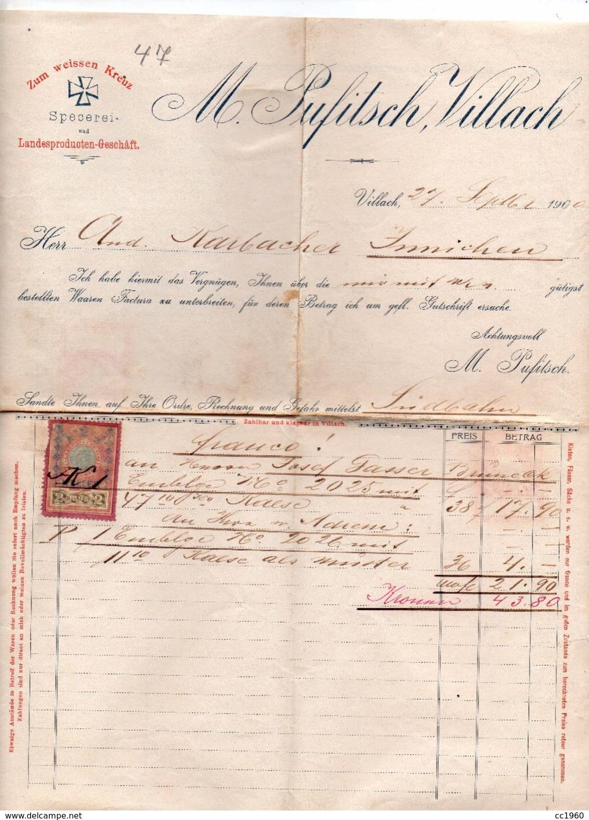 """Austria - Villach - Fattura Della Ditta """" M. Pufitsch """"  Del  27 Settembre 1900 Con Ricevuta D'Impostazione - (FDC4996) - Austria"""