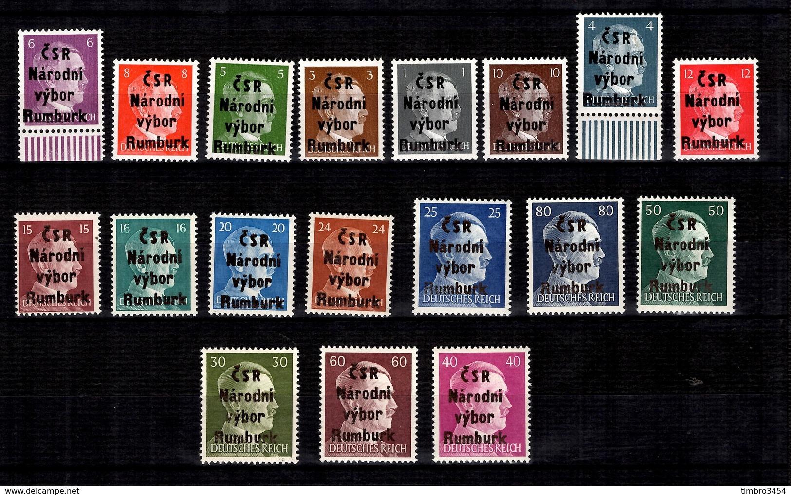Allemagne/Tchécoslovaquie Série Locale De Rumburk 1945 Neufs ** MNH. TB. A Saisir! - Occupation 1938-45
