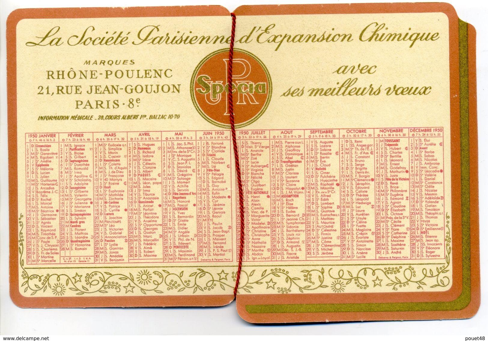 Calendrier Publicitaire Rhône Poulenc: Avec Ses Meilleurs Voeux 1950 - Calendriers
