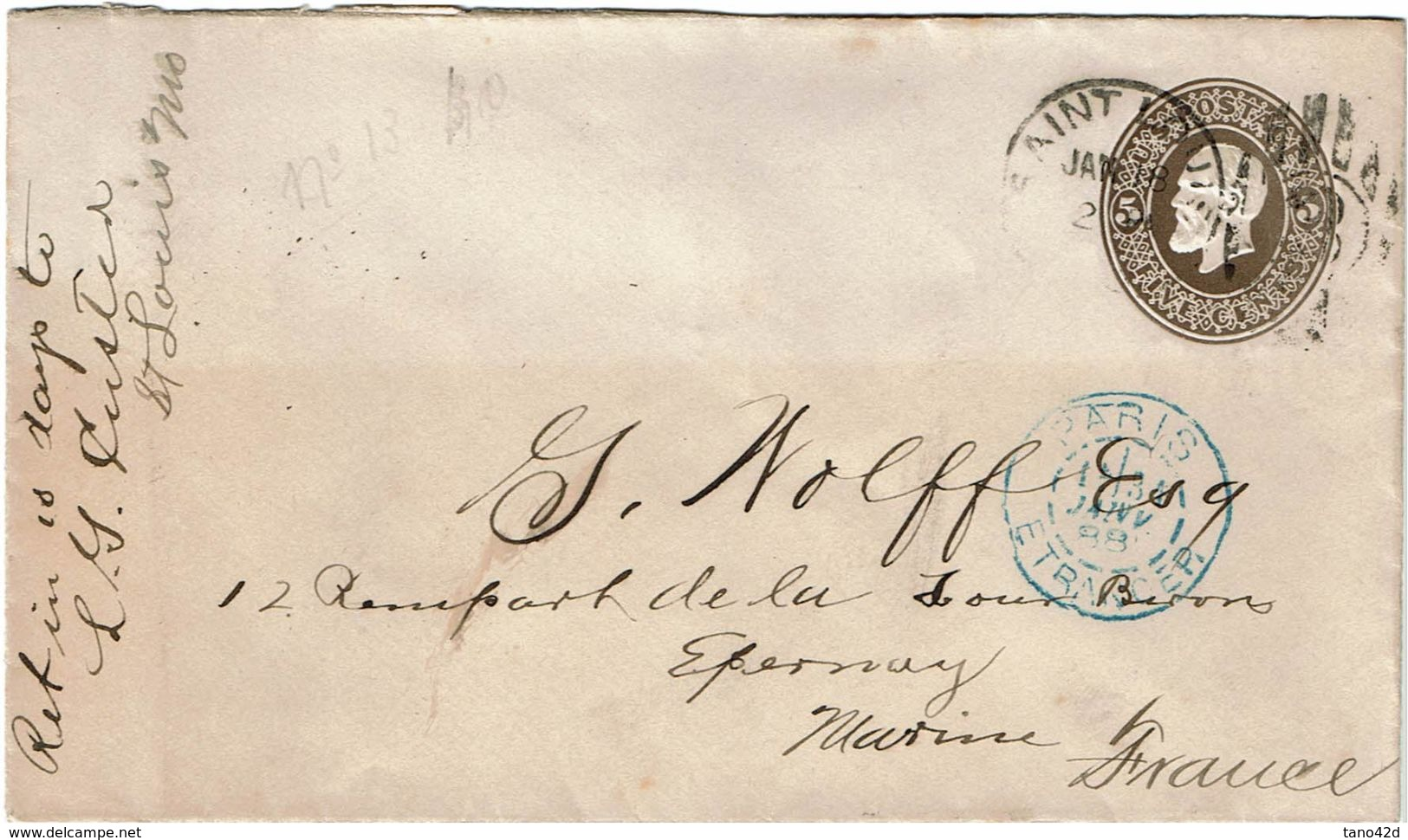 CTN49-11 - ETATS UNIS EP ENVELOPPE CIRCULEE JANVIER 1888 - Postal Stationery
