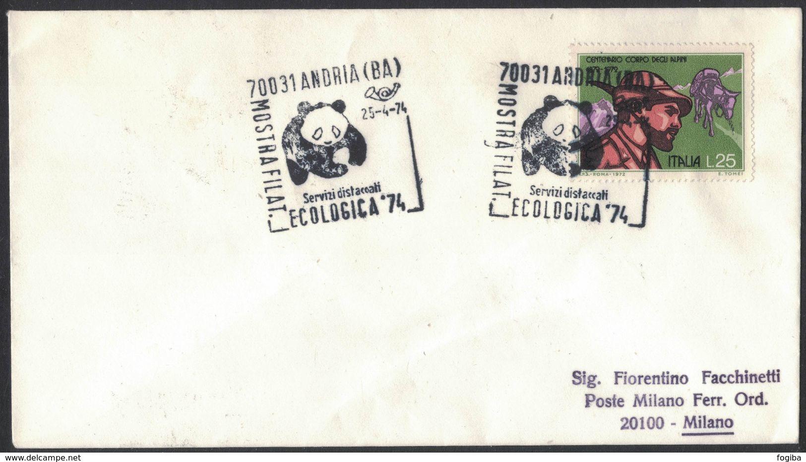 VE24     ITALIA, Special Postmark 1974 Andria WWF Panda - W.W.F.