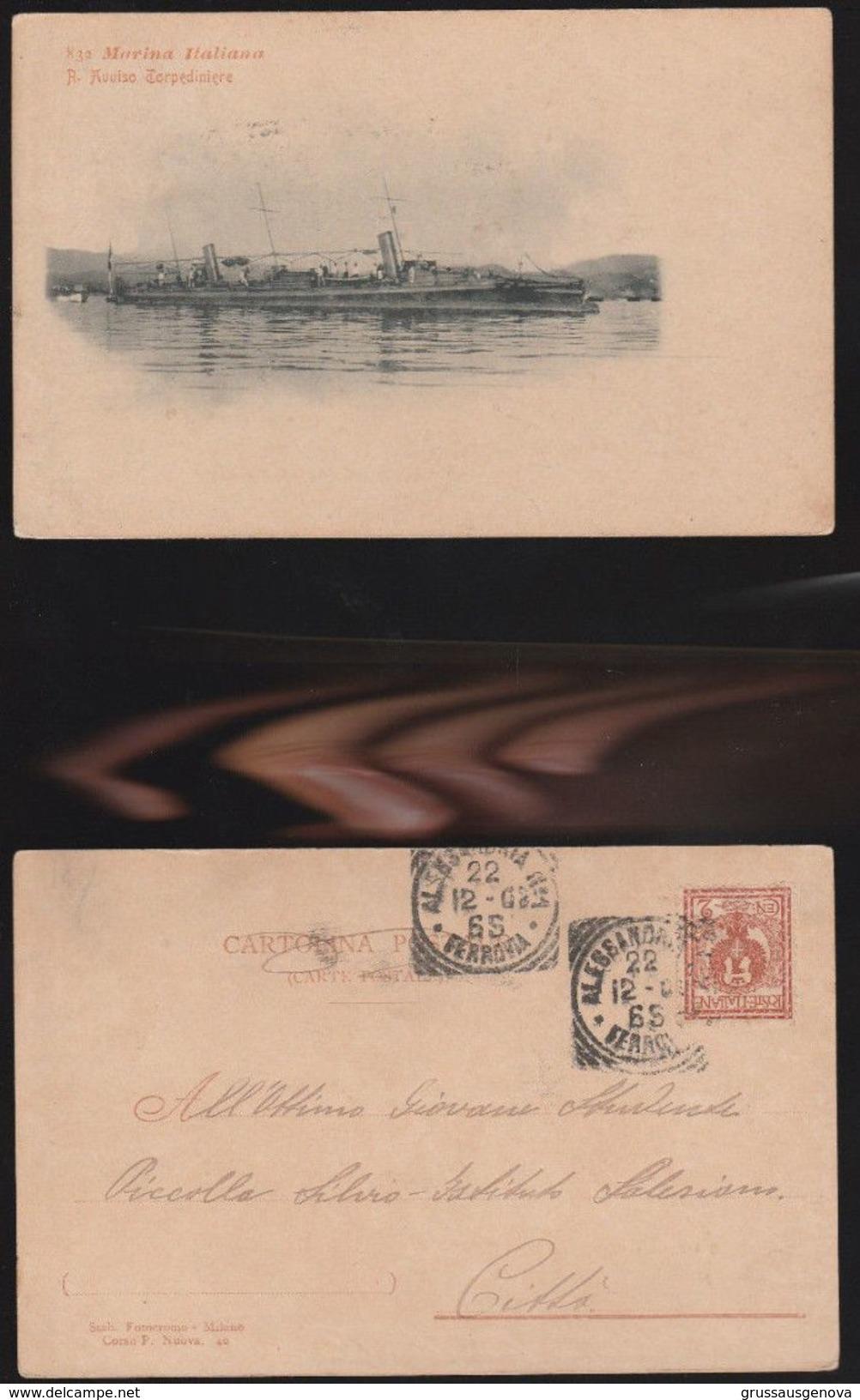 11998) MARINA MILITARE ITALIANA REGIO AVVISO TORPEDINIERA VIAGGIATA 1902 RARA - Guerra