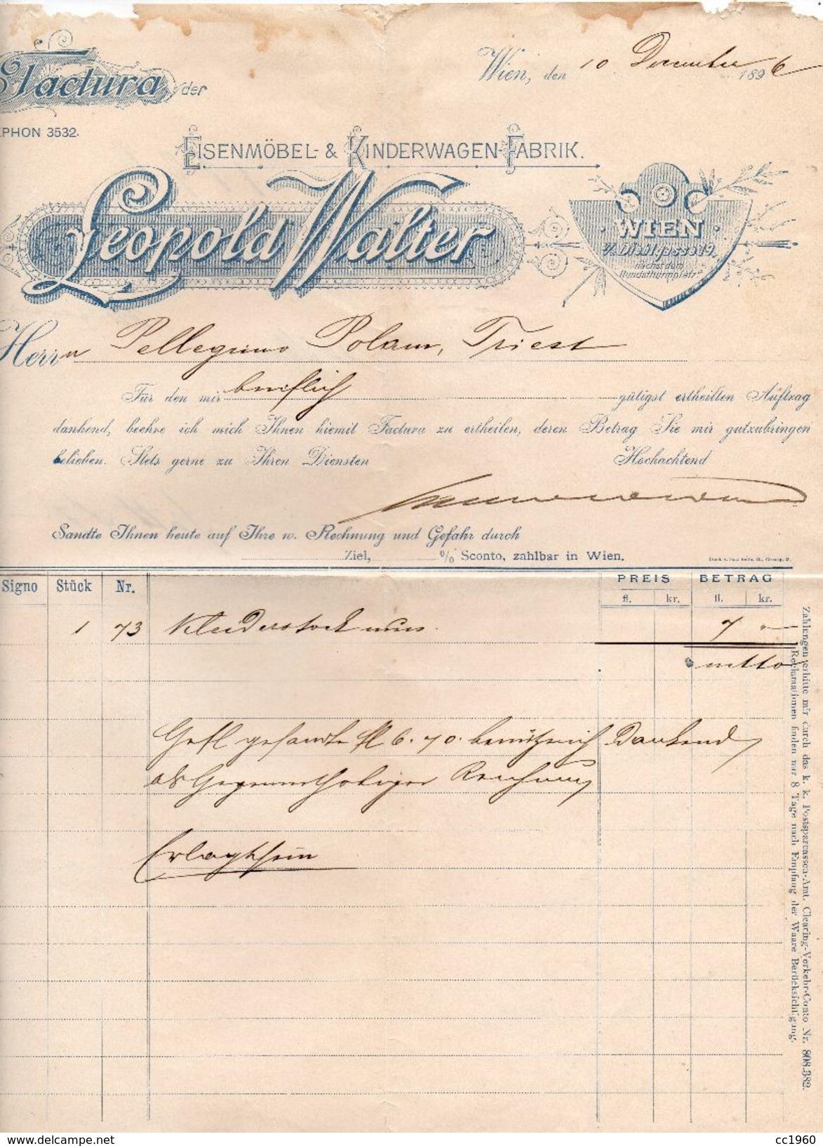 """Austria - Vienna - Fattura Della Ditta """" Leopold Walter """" Datata 10 Dicembre 1896 - (FDC5001) - Austria"""
