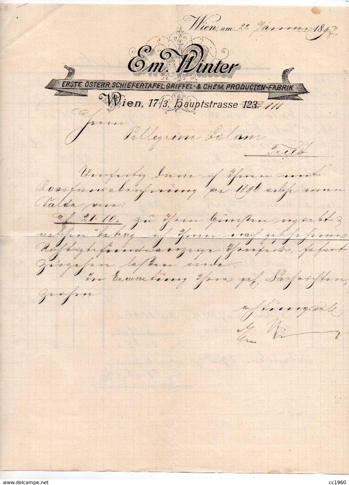 """Austria - Vienna - Lettera Della Ditta """" Em. Winter """" Datata 22 Gennaio 1897 - (FDC5003) - Austria"""