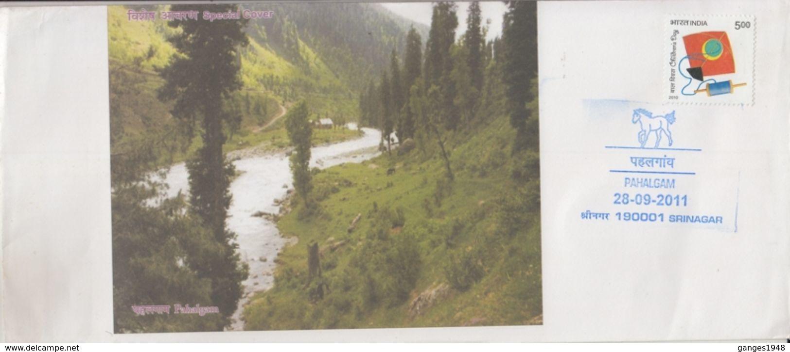 India   2011  Horse Track  Pahalgam  SRINAGAR  Kashmir  Cover   #  92769  Inde Indien - Horses