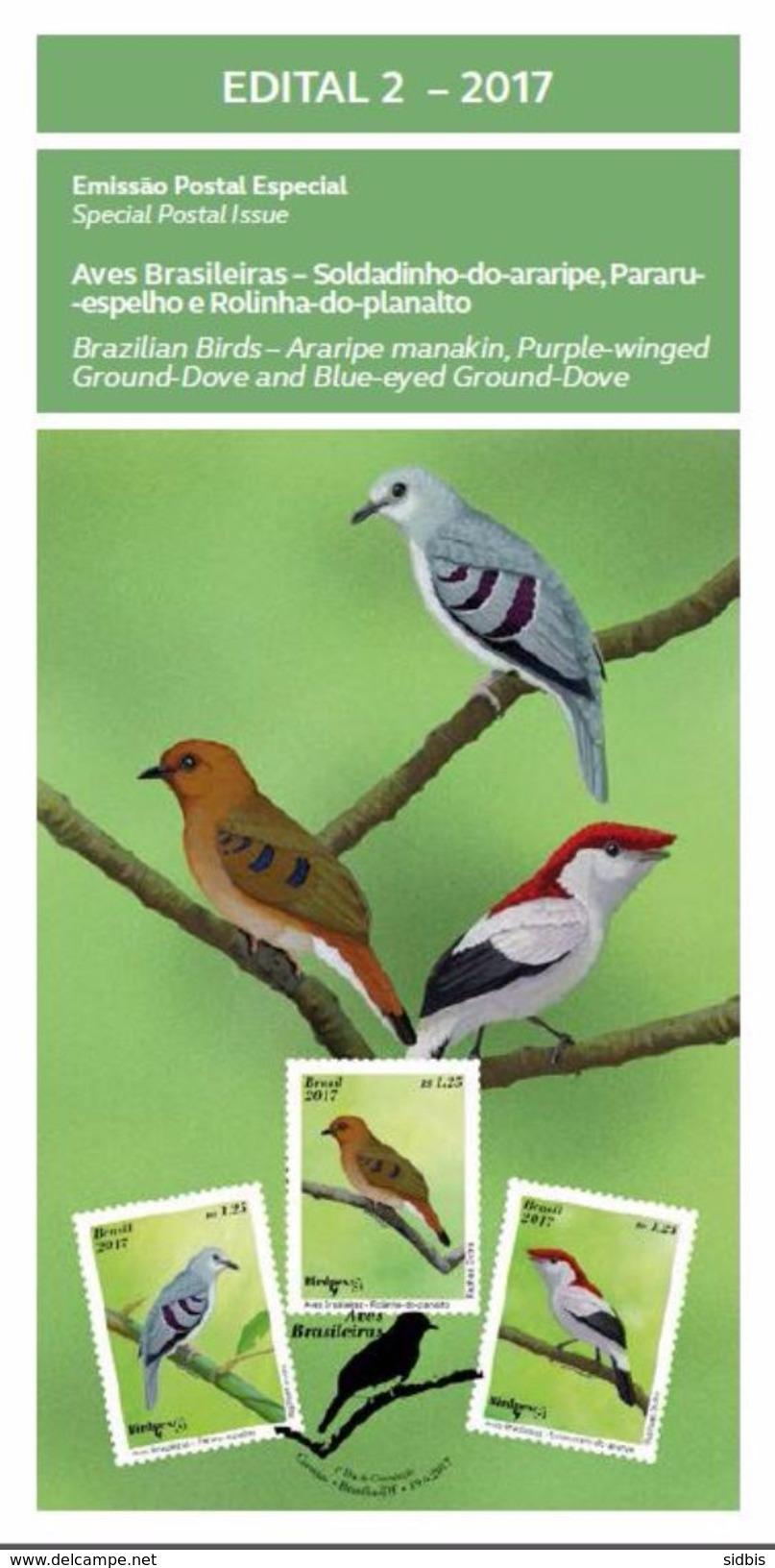 BRAZIL 2017 EDITAL BRAZILIAN BIRDS STAMPS - Unused Stamps