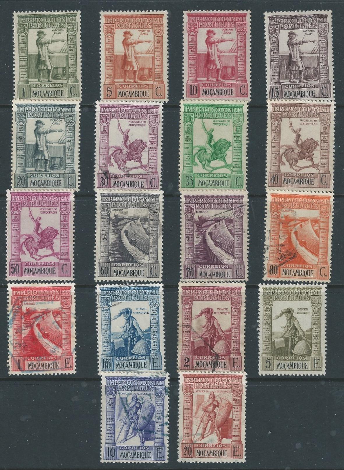 PORTUGESE COLONIES MOZAMBIQUE 1938 VASCO DA GAMA POSTAGE SET TO 20E SG351/68 MNH/Used - Mozambique