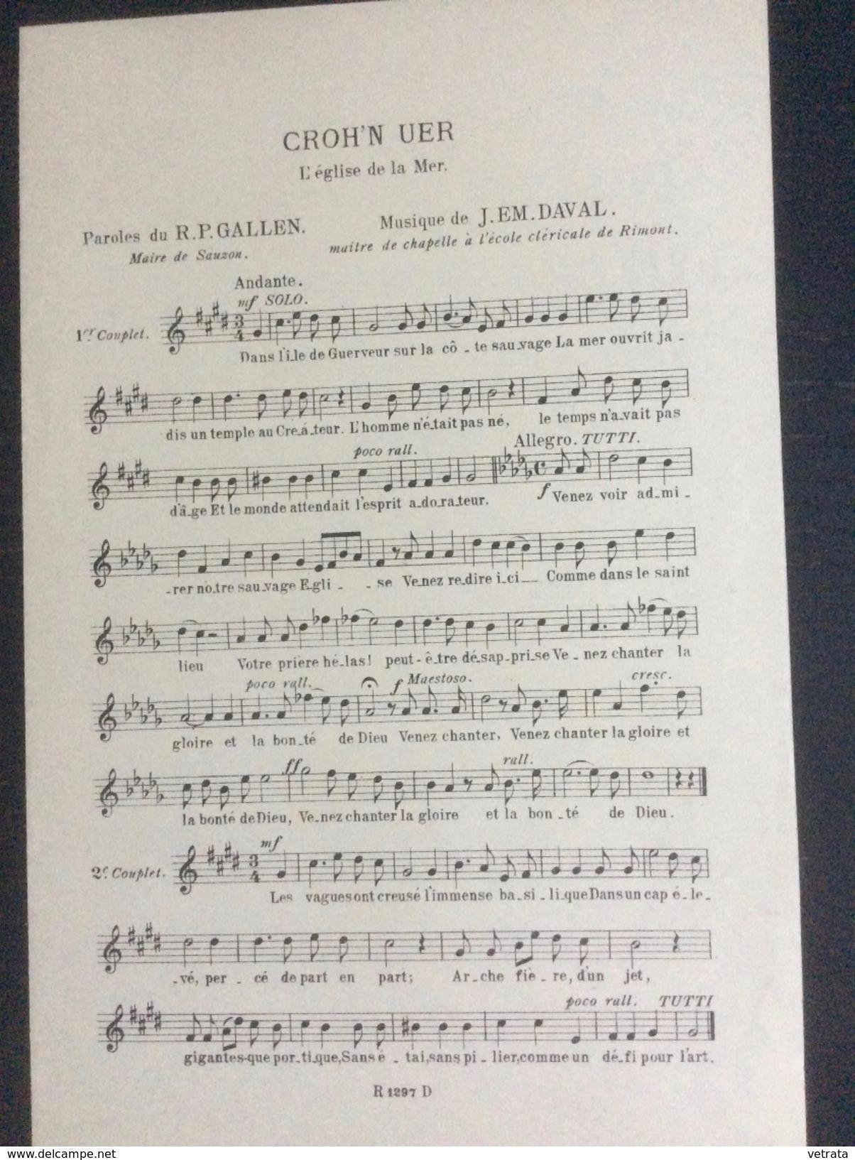 Partition : Croh'n Uer, L'église De La Mer (J.EM. Daval-R.P. Gallen.- 2 Feuillets - Début Du Siècle Dernier - Bon état) - Opéra