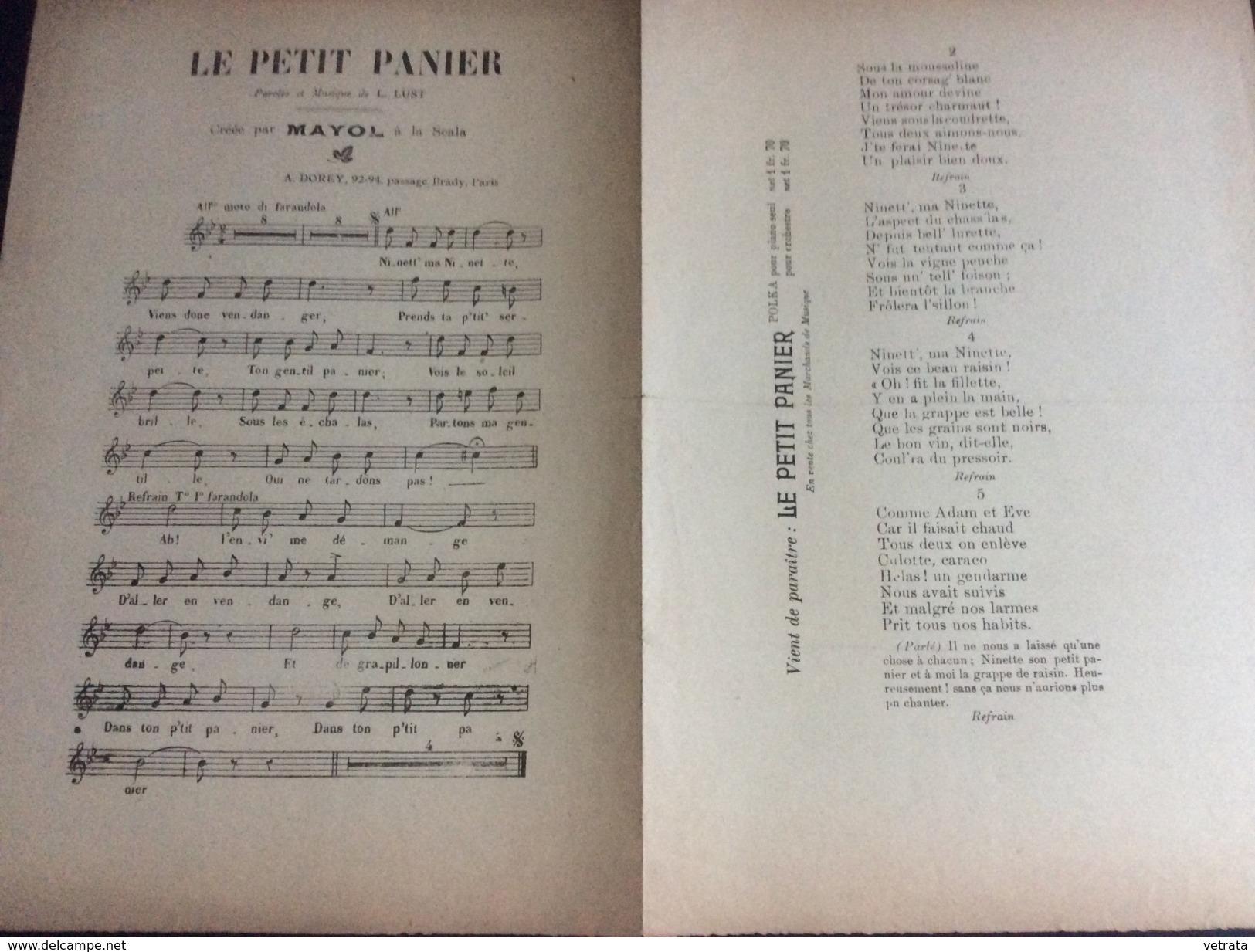 Partition : Le Petit Panier (chanté Par Mayol - L. Lust- 2 Feuillets - Début Du Siècle Dernier - Bon état) - Opéra