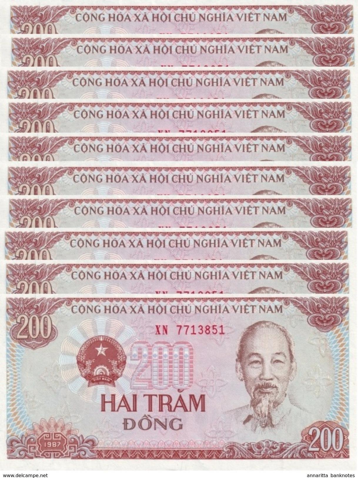 VIETNAM 200 DONG 1987 P-100a I (BFR) KLEIN S/N 10 PCS [VN328a] - Vietnam