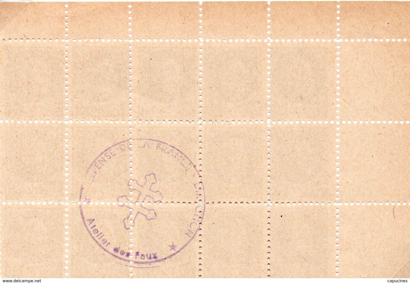 """2e GUERRE- Faux """"Pétain"""" 1,50F (bloc De 15 Timbres) - WW2"""
