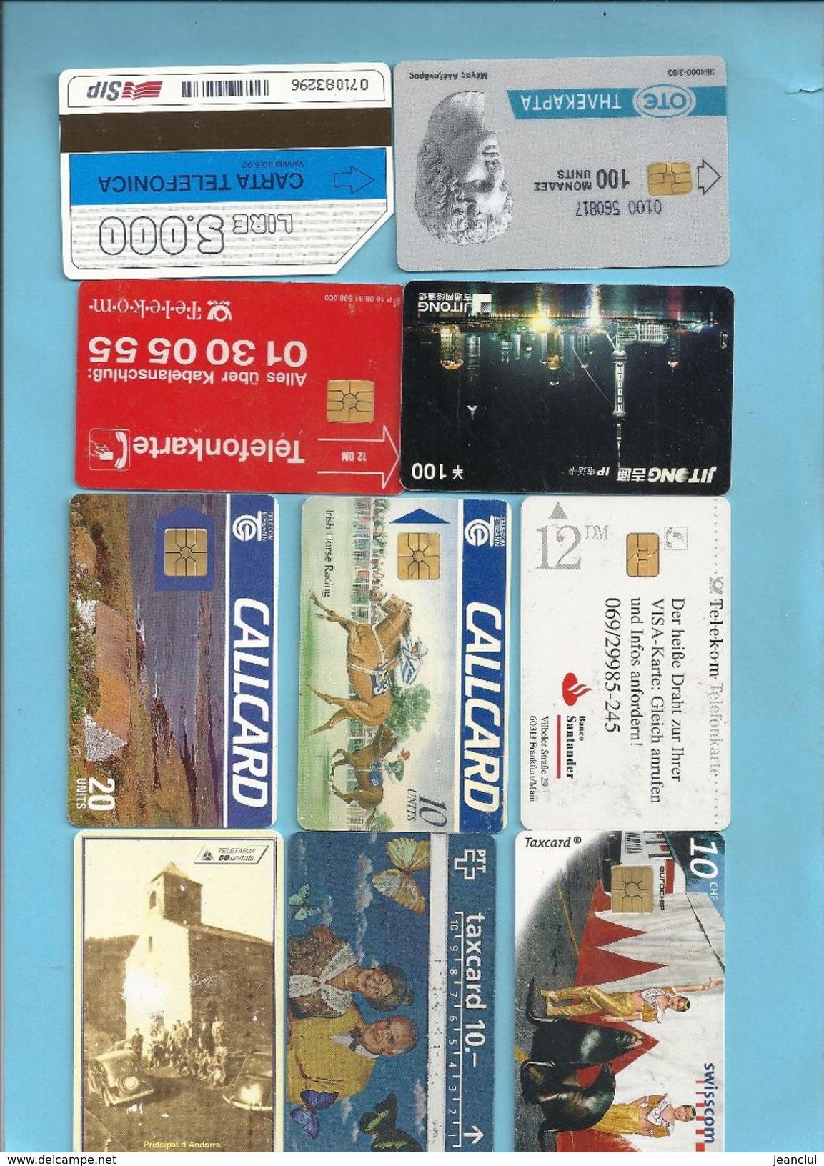 PETIT LOT DE 10 CARTES ETR . 2ALL . 2CH . 2IRL .1 GRC . 1 CHIN . 1 IT . 1 AND . 2 SCANES - Télécartes