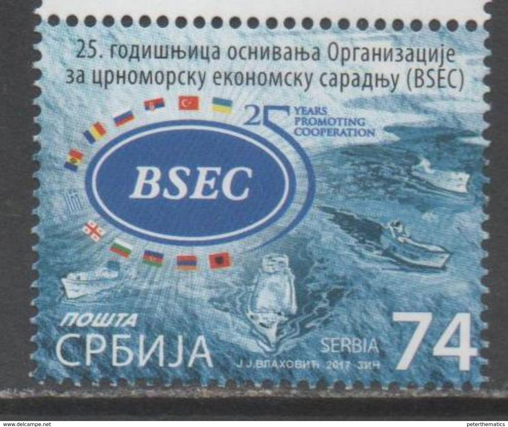 SERBIA , 2017, MNH, BSEC, BLACK SEA ECONOMIC COOPERATION, SHIPS, FLAGS, 1v - Barche