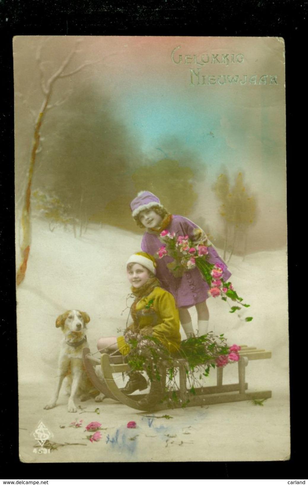 Enfants ( 252 )  Fillette  Meisje  Kinderen  Chien  Hond  -  Traîneau  Luge  Slee  Slede - Enfants