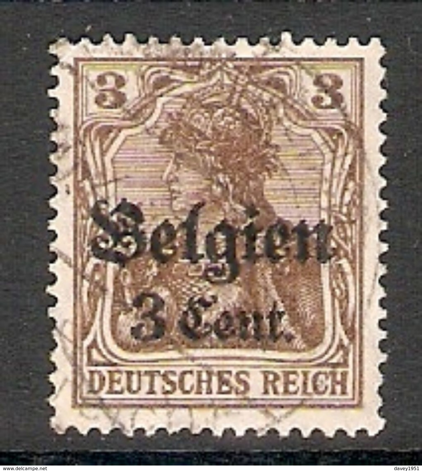004828 Germany Occupation Of Belgium 1916 3c On 3pf FU - Zona Belga