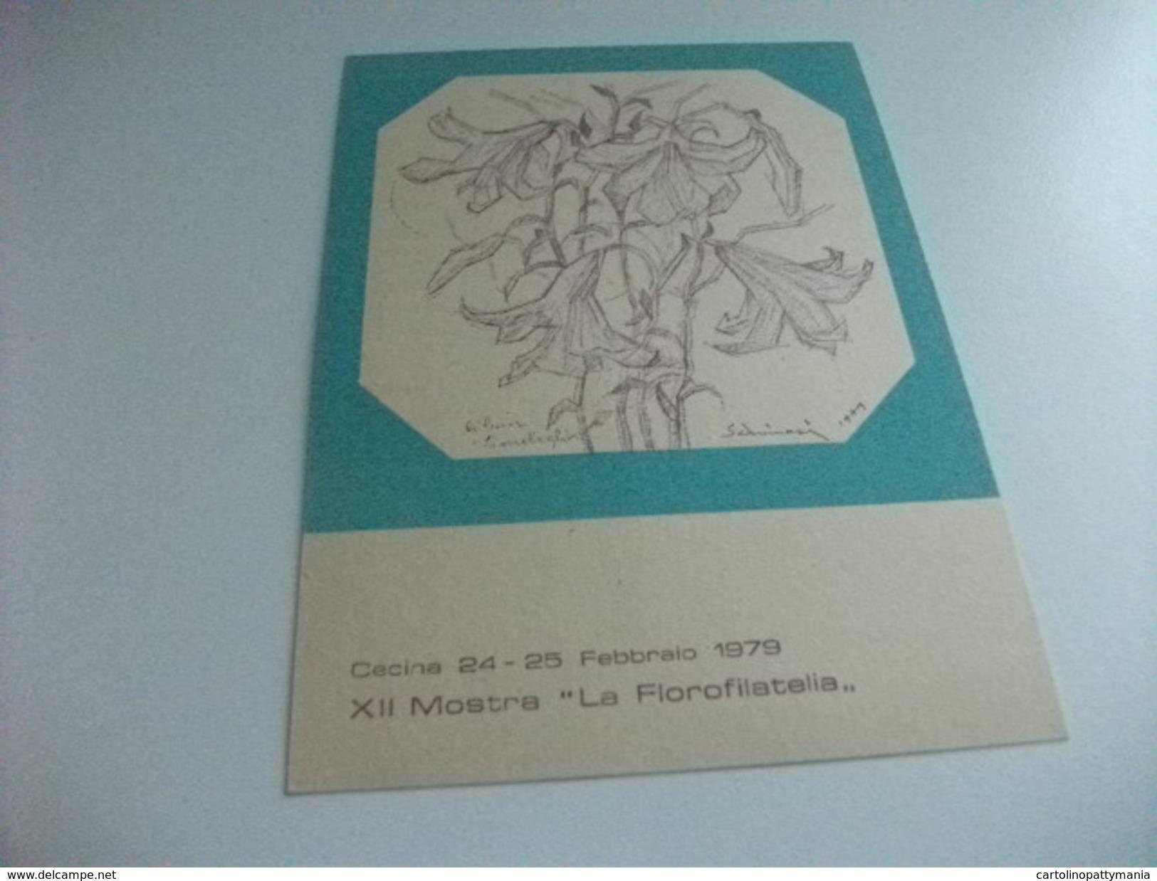 STORIA POSTALE Cartolina Postale Cecina XII MOSTRA LA FLOROFILATELIA FIORI ILLUSTRATORE VEDI FIRMA DANIEL SCHINASI 1979 - Manifestazioni