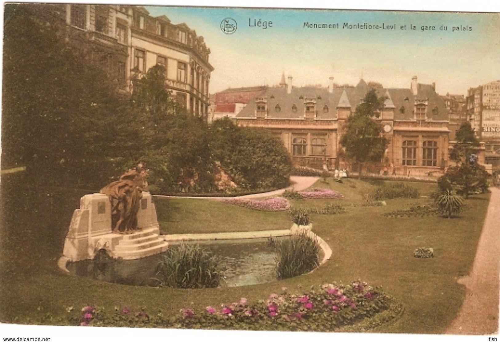 Belgium  & Circulated,  Resende Liége, Montfiore-Levi Et La Gare Du Palais (1913) - Monuments