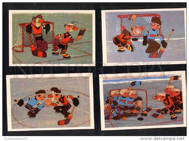 032413 Ice Hockey Russian Set Of 16 Comical Postcard - Postkaarten