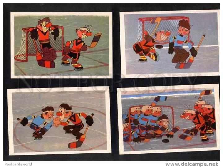 032413 Ice Hockey Russian Set Of 16 Comical Postcard - Cartes Postales