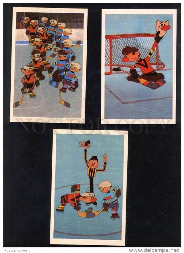 032413 Ice Hockey Russian Set Of 16 Comical Postcard - Postcards