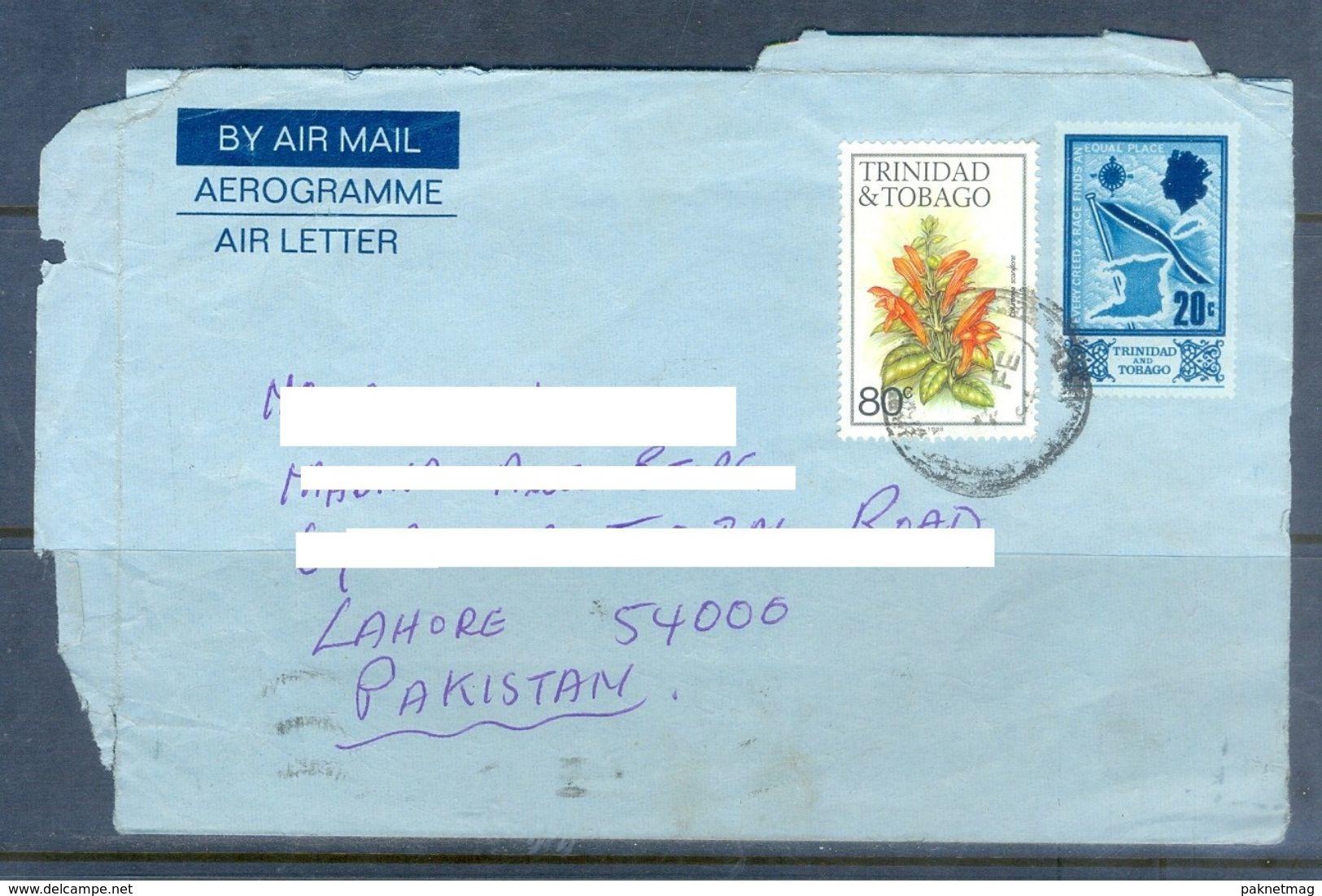 D612- Used Aerogramme Post To Pakistan From Trinidad & Tobago. Flag. Plants. Flowers. - Trinidad & Tobago (1962-...)