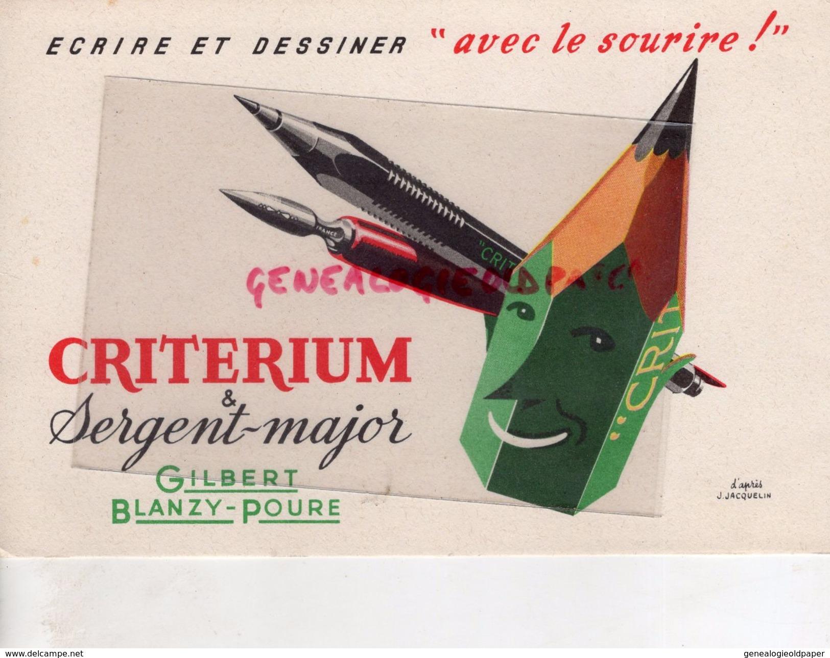 62- BOULOGNE SUR MER- BUVARD PAPETERIE- CRITERIUM SERGENT MAJOR- GILBERT BLANZY POURE- D' APRES J. JACQUELIN - Papeterie