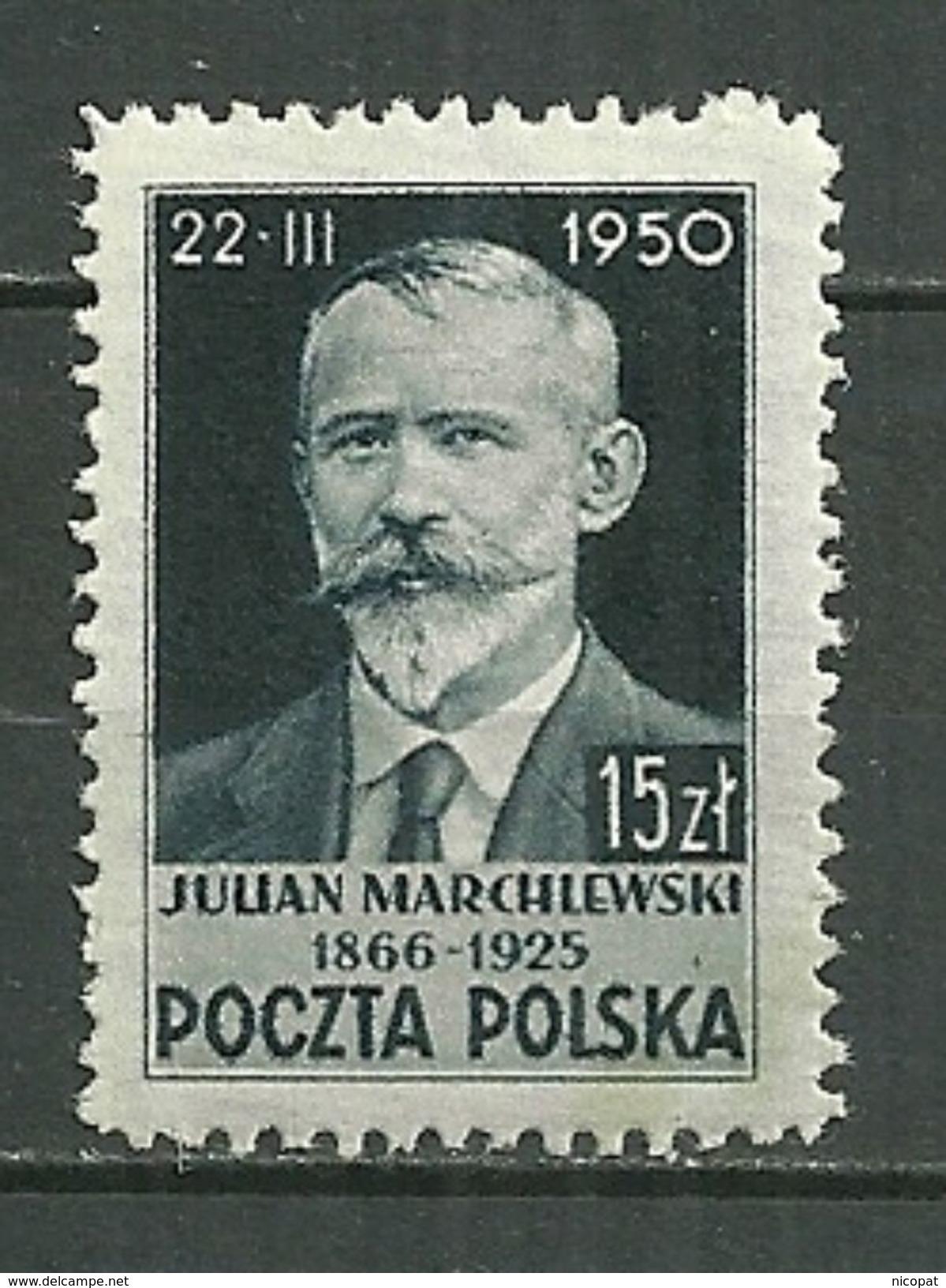 POLAND MNH ** 567 JULIAN MARCHLEWSKI Homme Politique - 1944-.... République