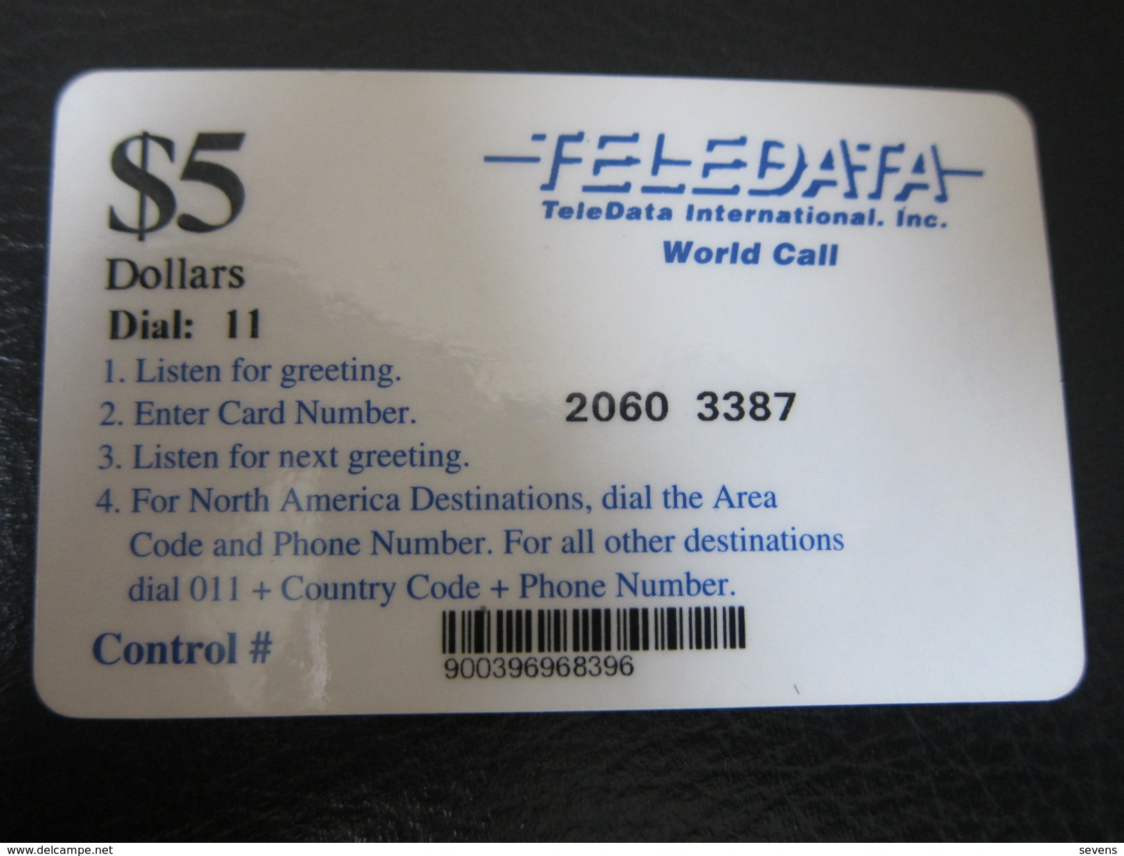 Teledata World Call Remote Phonecard,5$ In Black Facevalue, Blue Text, Used For U.N. Force In Angola - Angola
