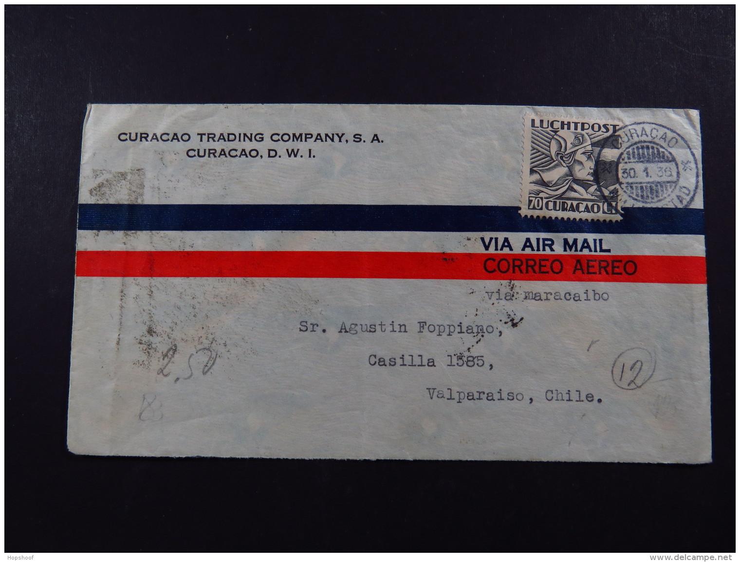 Cover Curacao 70 C 30-1-1936 Via Air Mail Correo Aereo To Chile Via Maracaibo - Postzegels