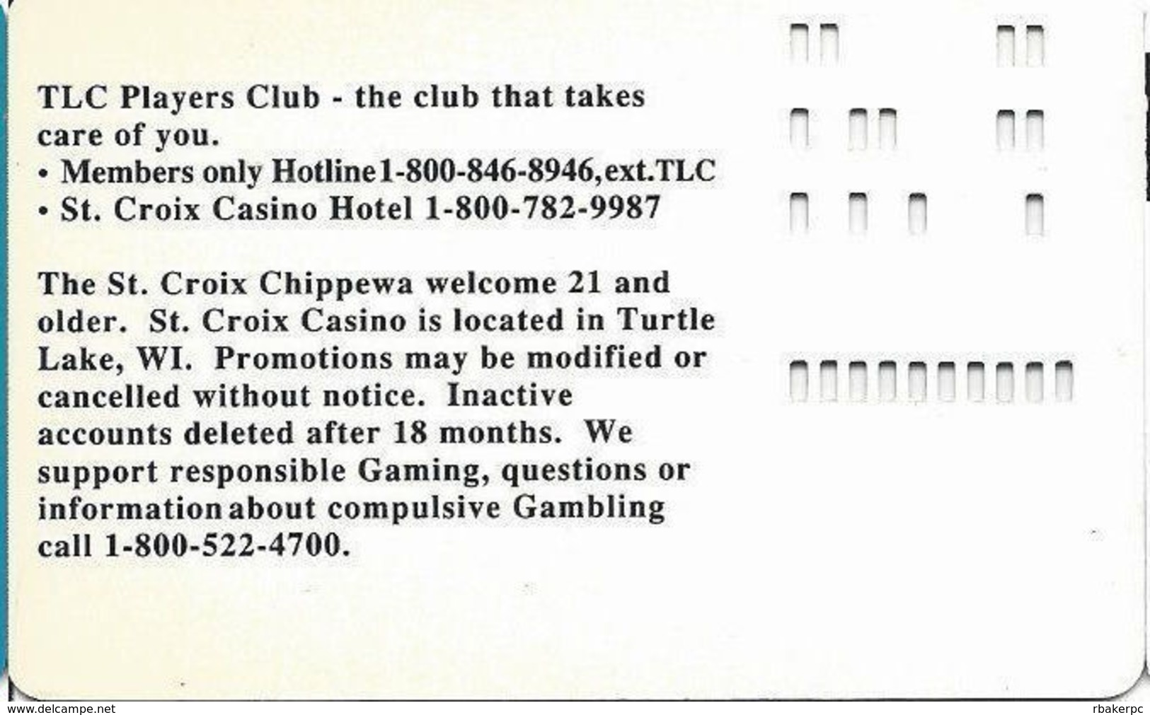 St. Croix Casino - Turtle Lake, WI USA - Slot Card - No Manufacturer Mark On Reverse - Casino Cards