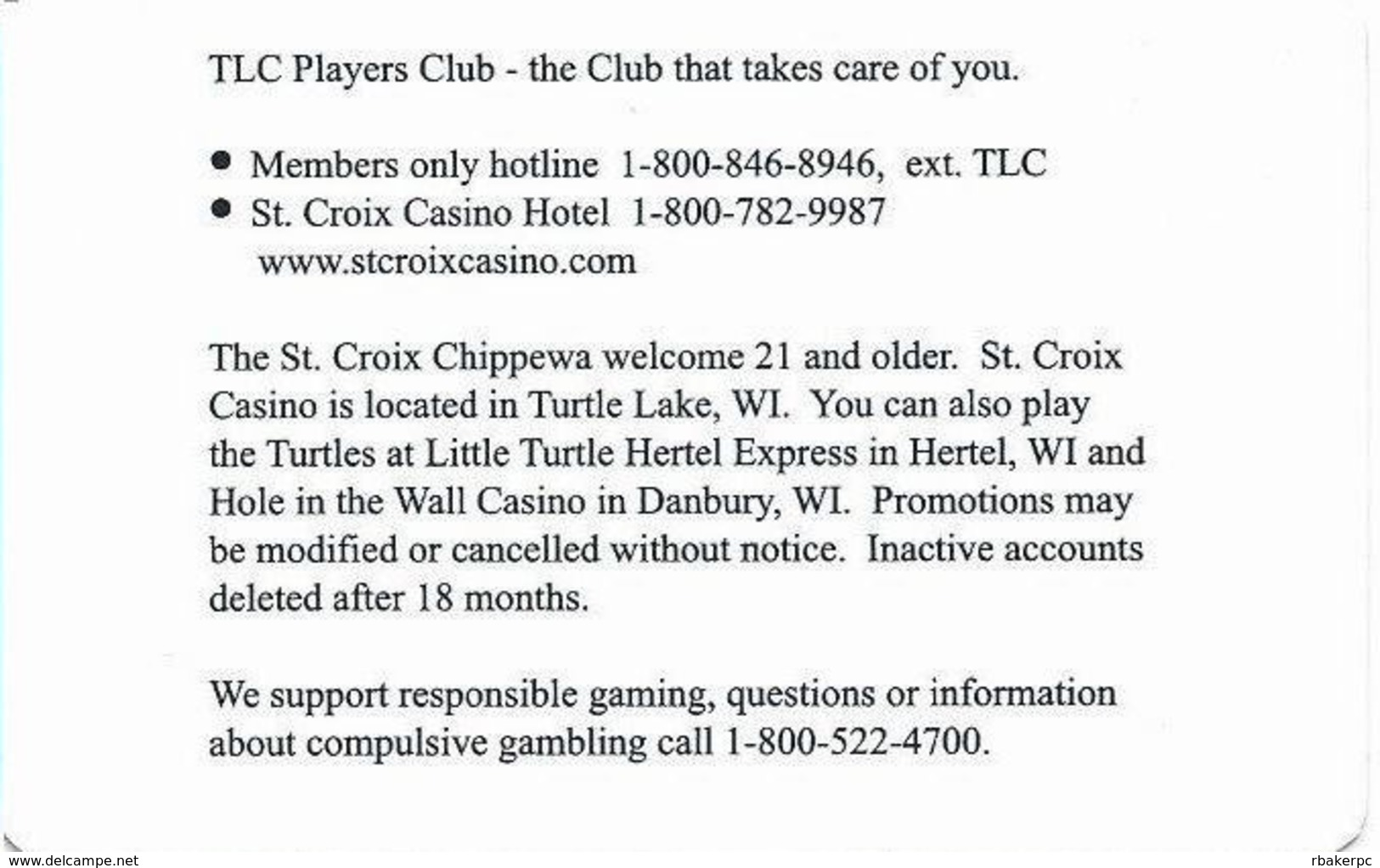 St. Croix Casino - Turtle Lake, WI USA - Slot Card - BLANK / Unpunched - Casino Cards