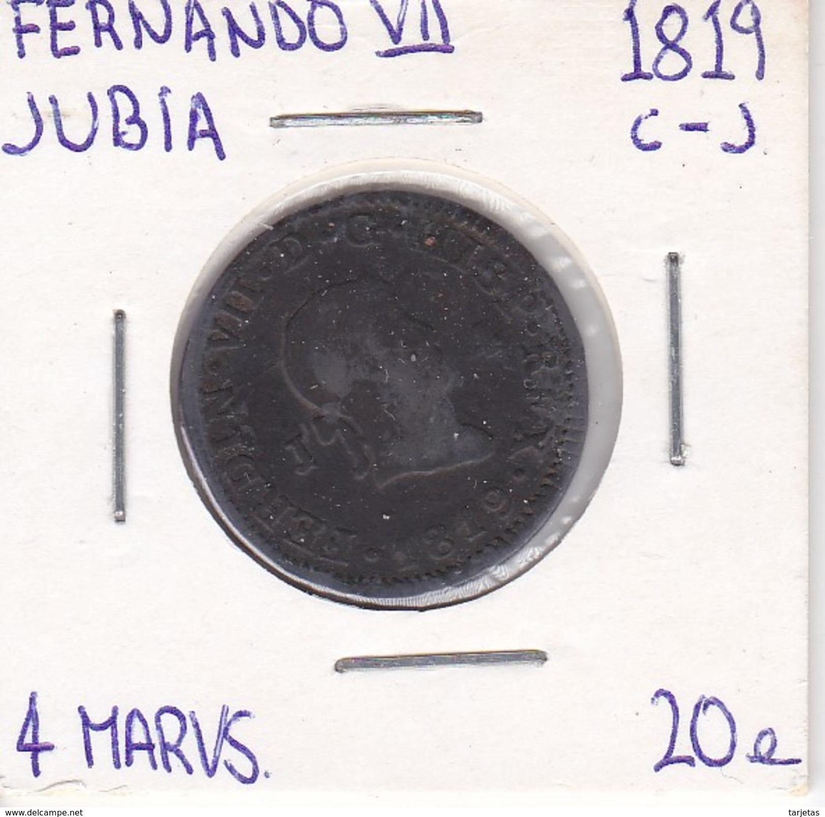 MONEDA DE ESPAÑA DE FERNANDO VII DEL AÑO 1819 DE 4 MARAVEDIS (COIN) JUBIA - Sin Clasificación