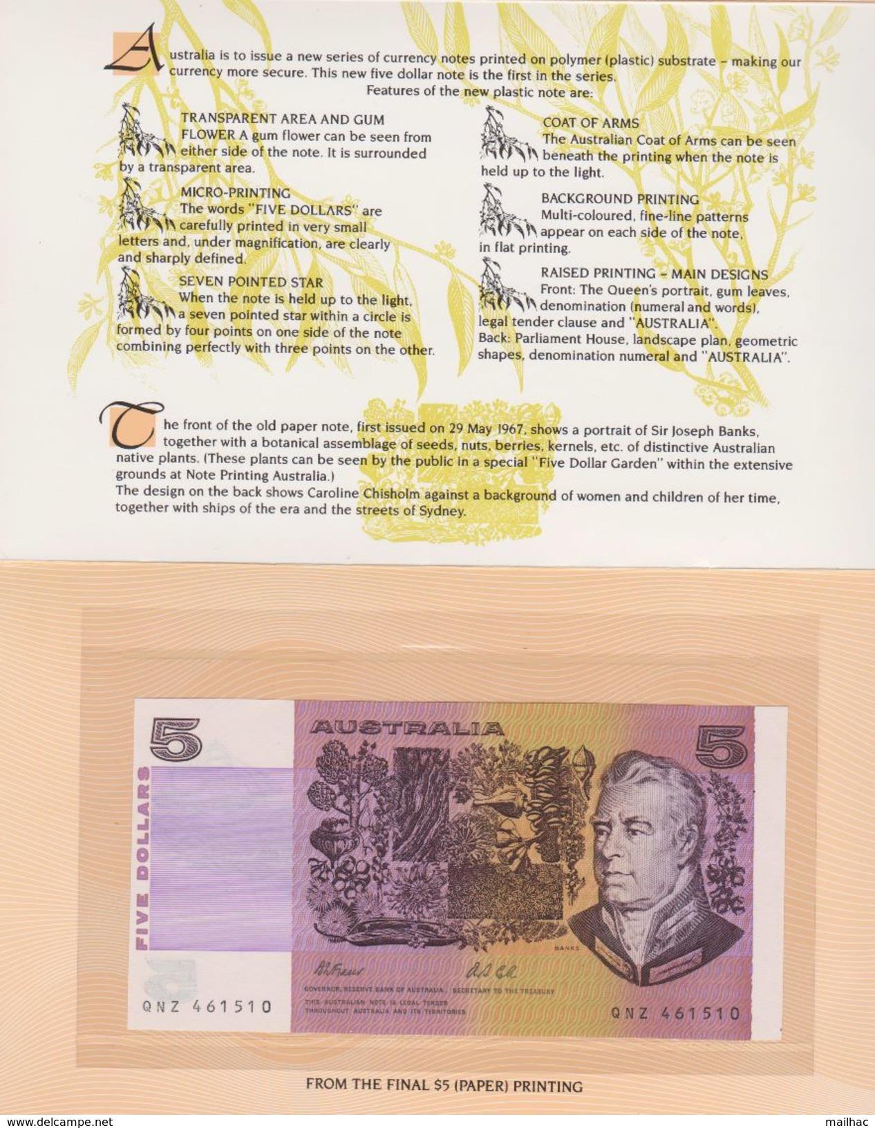 AUSTRALIE - Booklet 5 DOLLARS - 7 July 1992 1st Day Of Issue - MINT - NEUF - Australia