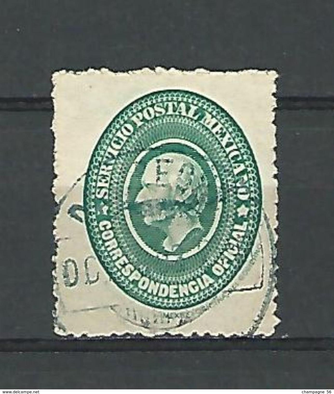 1884 N° 4 TIMBRES DE SERVICE MIGUEL HIDALGO VERT   CORRESPONDENCIA OFICIAL  OBLITÉRÉ DOS CHARNIÈRE - Mexico