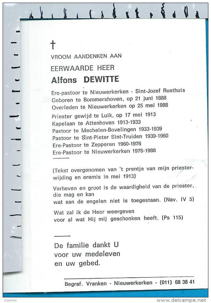 Bp    E.H.   Dewitte   Bommershoven   Bovelingen   Nieuwerkerken - Images Religieuses