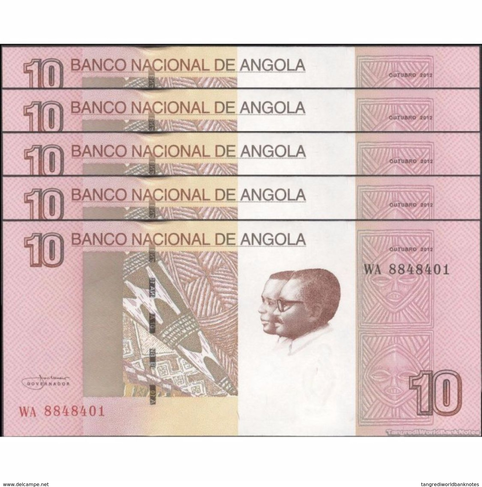 TWN - ANGOLA 151B - 10 Kwanzas 10.2012 Prefix WA DEALERS LOT X 5 - Angola
