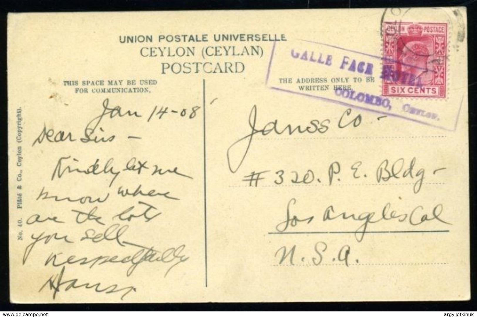 CEYLON KE7 GALLE FACE HOTEL POSTCARD - Ceylon (...-1947)