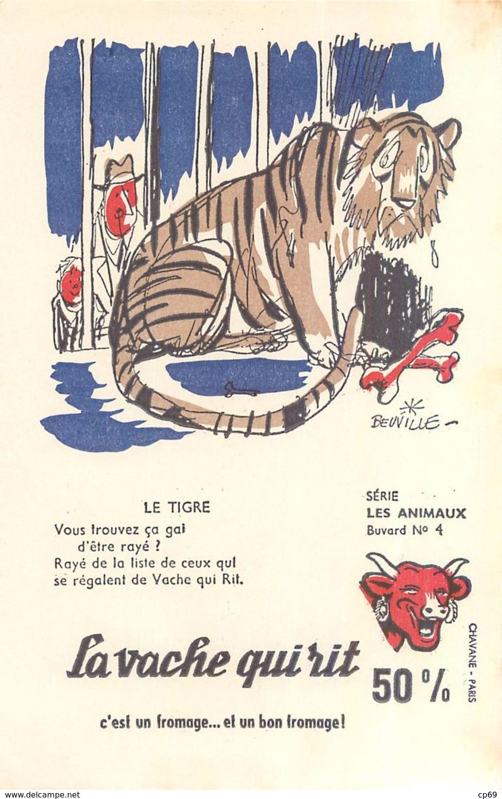 Série De 10 Buvards BEUVILLE Avec Sa Pochette D'Origine Animaux La Vache Qui Rit En Assez B.Etat - Animaux