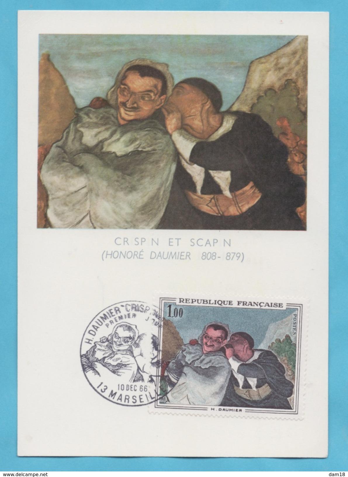 FRANCE N° 1494 (YT) SUR CARTE MAXIMUM  TABLEAU DE DAUMIER  1966 - Briefe U. Dokumente