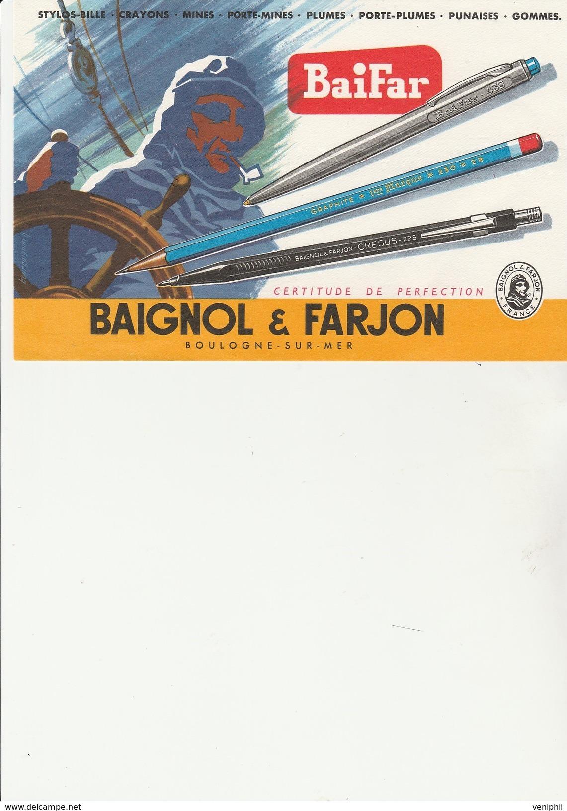 BUVARD ILLUSTREE -BAIGNOL ET FARJON  -BOULOGNE SUR MER -  TB - Stationeries (flat Articles)