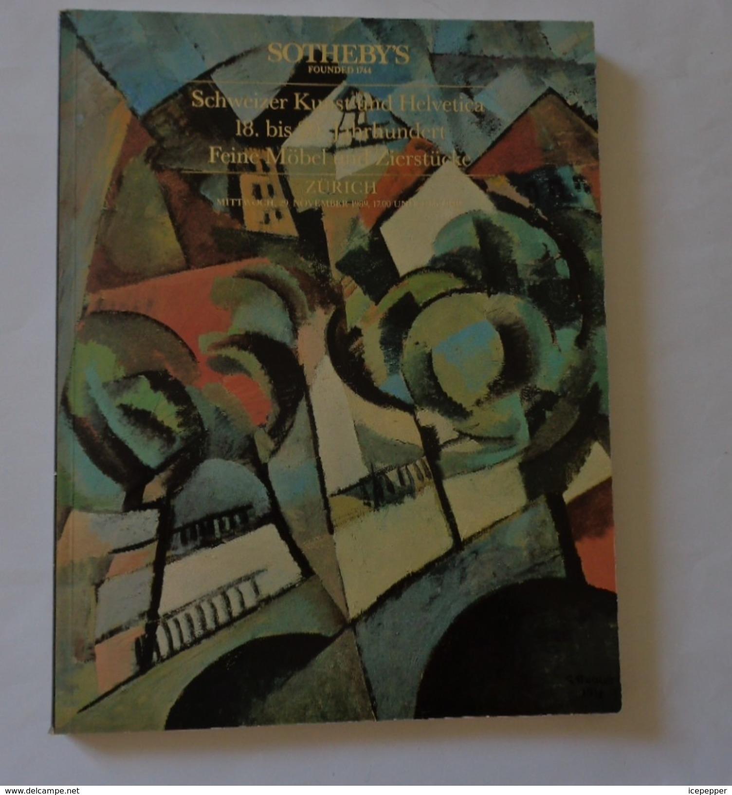 Sotheby's  Zurich 29-11-1989 Art Auction Schweizer Kuntz Und Hevetica 18-20e   Peintures,objets Et Meubles - Catalogues