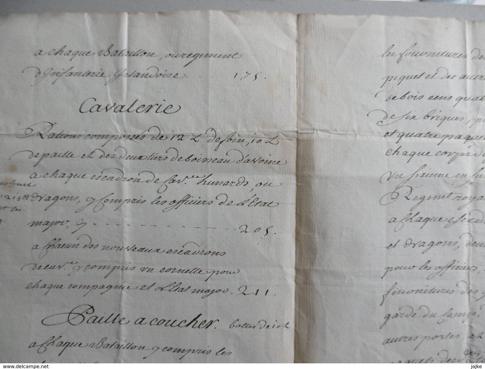 Etat Des Fourages Pour Infanterie, Dragons, Cavelerie 26 Avril 1744 (Louis XV) - Décrets & Lois