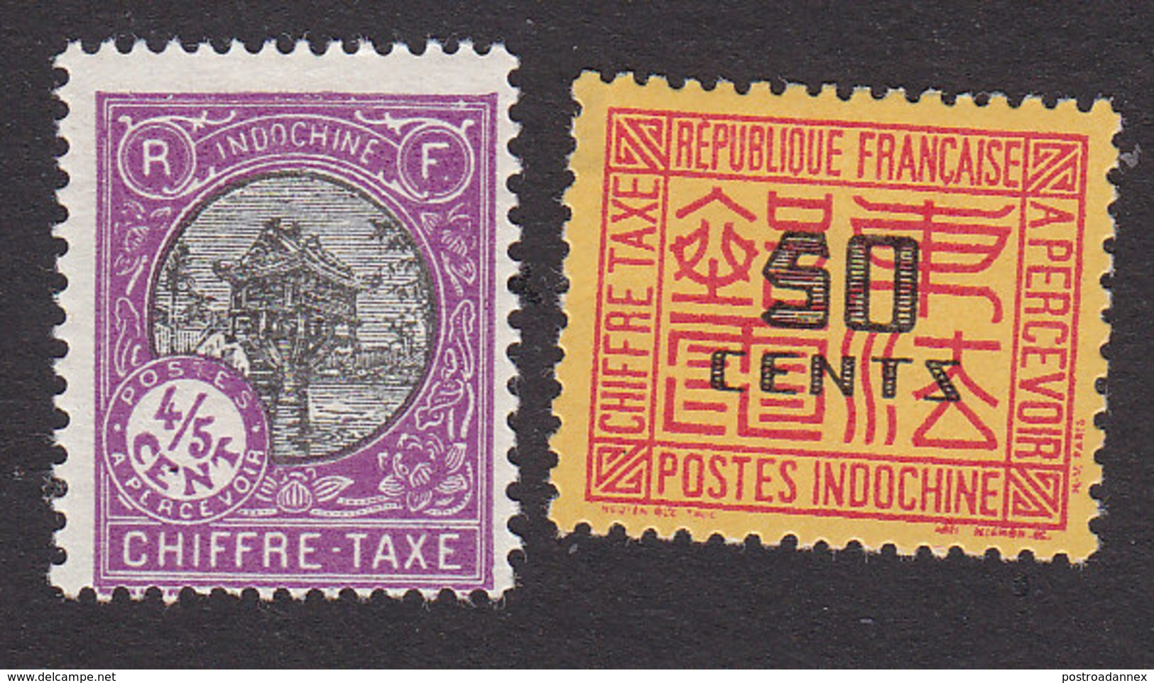Indo China, Scott #J45, J72, Mint Hinged, Pagoda, Postage Due Surcharged, Issued 1927-31 - Indochine (1889-1945)