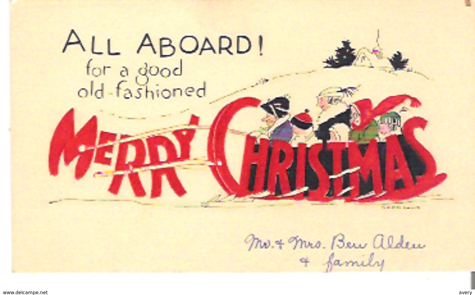 """Christmas Card  All Aboard! For A Good Old-fashioned Merry Christmas  4.8"""" X 3""""  12 Cm X 7.5 Cm - Other"""