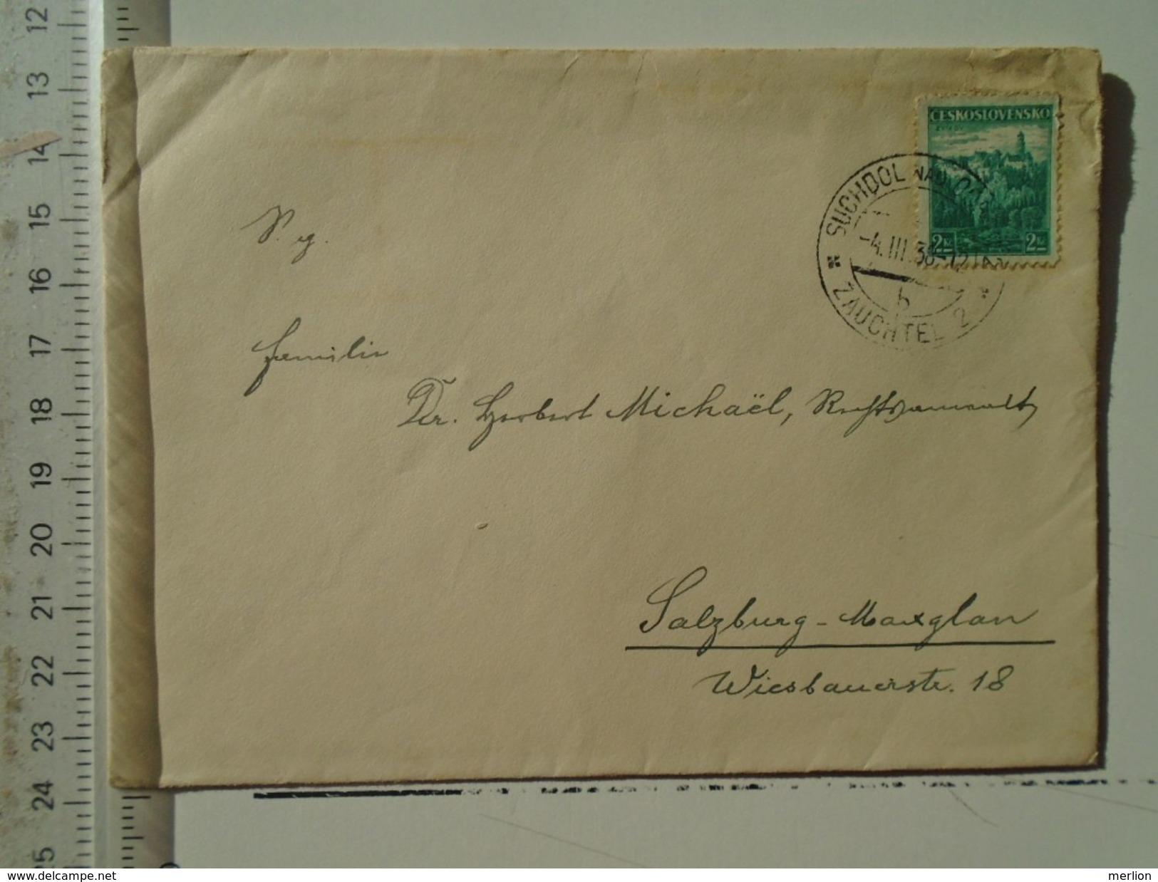 D151247  Ceskoslovakia  Czechoslovakia -Cover -  1938 Zauchtel Suchdol Odrou -sent To Salzburgt -Maxglan - Briefe U. Dokumente