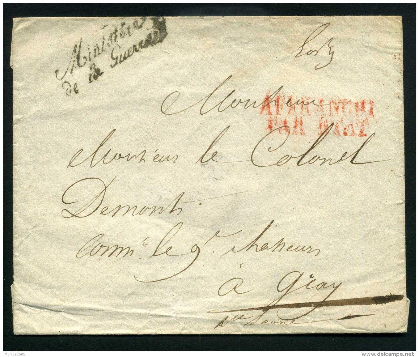 FRANCE  PARIS : ENVELOPPE  MINISTERE  DE  LA  GUERRE  POUR  GRAY  , A  VOIR . - Postmark Collection (Covers)